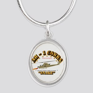 AH-1 Cobra - Snake Silver Oval Necklace