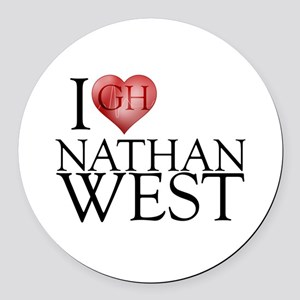 I Heart Nathan West Round Car Magnet