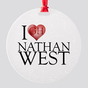 I Heart Nathan West Round Ornament