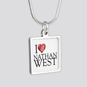 I Heart Nathan West Silver Square Necklace