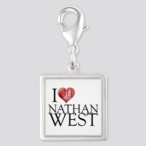 I Heart Nathan West Silver Square Charm