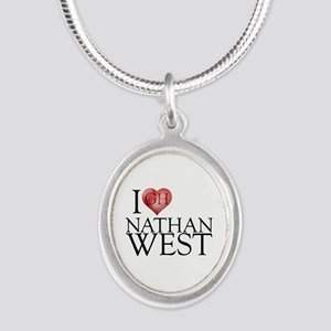 I Heart Nathan West Silver Oval Necklace