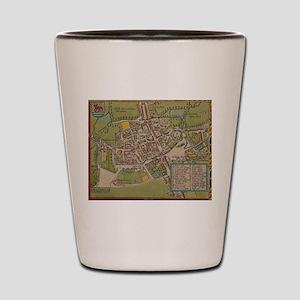 Vintge Map of Oxford England (1605) Shot Glass