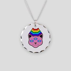 Rainbow Cat Face Necklace Circle Charm