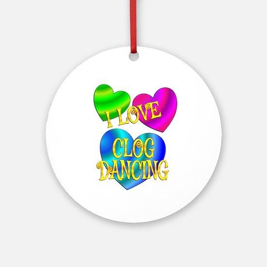 I Love Clog Dancing Round Ornament