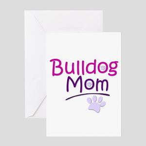 Bulldog Mom with Dog Paw Greeting Cards