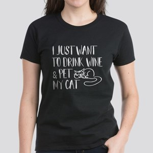 Drink Wine and Pet Cat T-Shirt