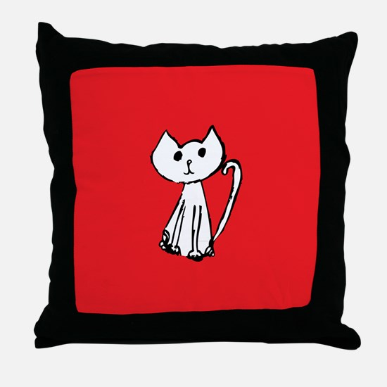 White Cat with Red Background Throw Pillow
