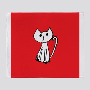 White Cat with Red Background Throw Blanket