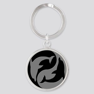 Grey And Black Yin Yang Dolphins Keychains
