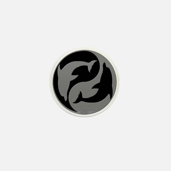 Grey And Black Yin Yang Dolphins Mini Button