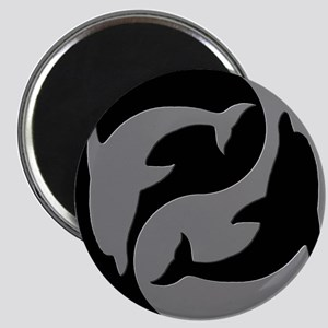Grey And Black Yin Yang Dolphins Magnets