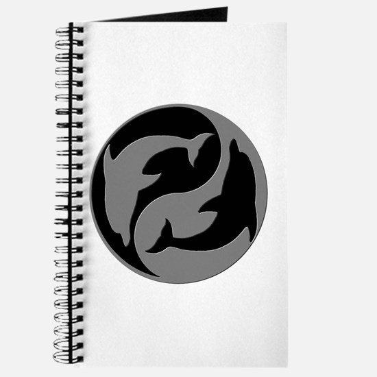 Grey And Black Yin Yang Dolphins Journal