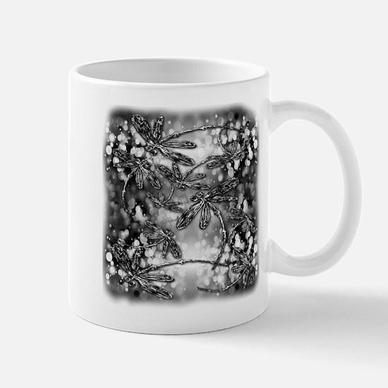 Dragonfly Bubbles Black n White Mug
