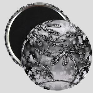 Dragonfly Bubbles Black n White Magnet
