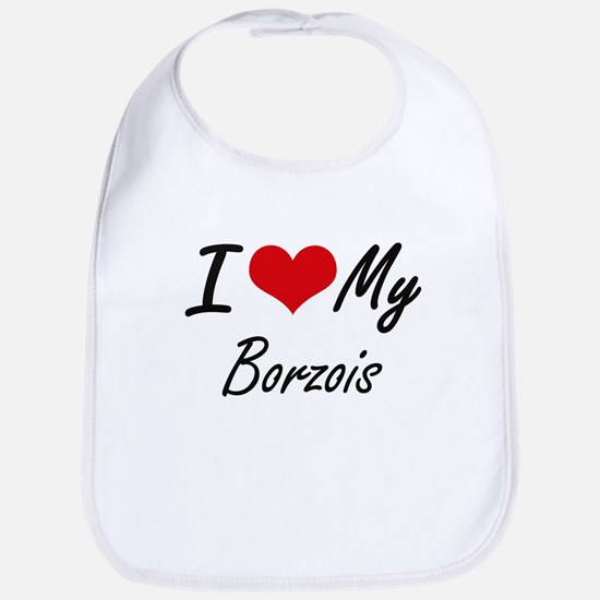 I Love My Borzois Bib