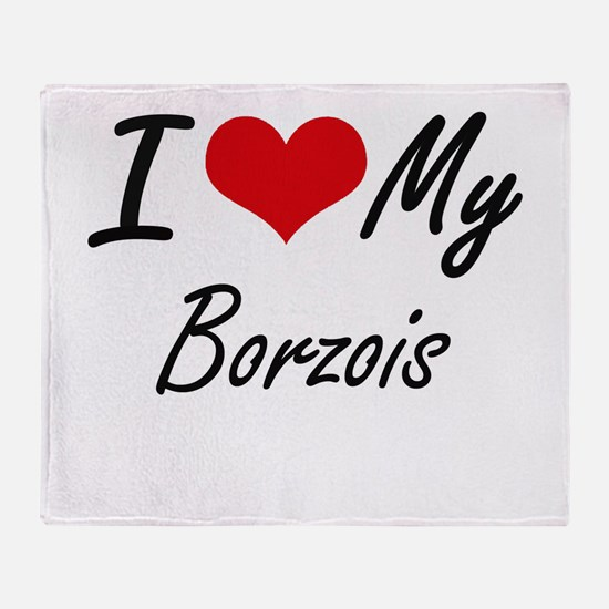 I Love My Borzois Throw Blanket