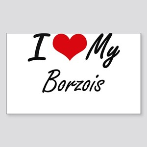 I Love My Borzois Sticker