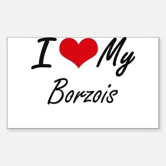 I Love My Borzois Decal
