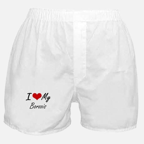 I Love My Borzois Boxer Shorts