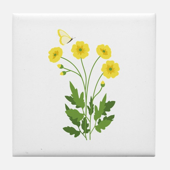 Buttercup Butterfly Tile Coaster