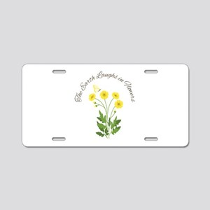 The Earth Laughs Aluminum License Plate