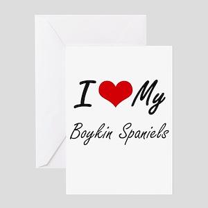 I Love My Boykin Spaniels Greeting Cards