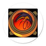 Red Raptor Logo Round Car Magnet