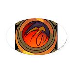 Red Raptor Logo Oval Car Magnet