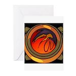 Red Raptor Logo Greeting Cards