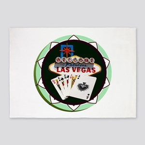 Las Vegas Welcome Sign Poker Chip 5'x7'Area Rug