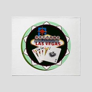 Las Vegas Welcome Sign Poker Chip Throw Blanket