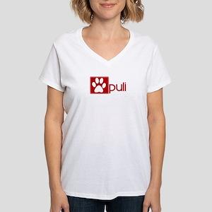 Puli (dog paw red) Women's V-Neck T-Shirt