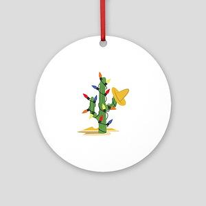Christmas Cactus Round Ornament