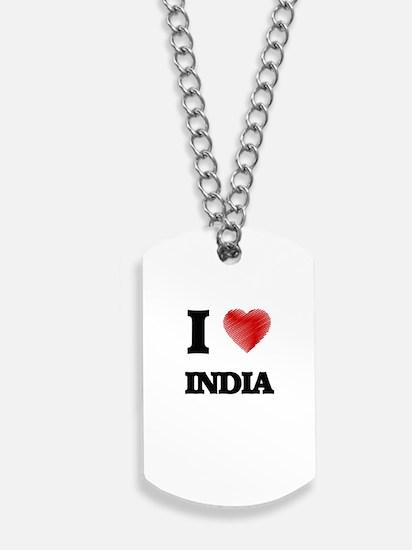 I Love India Dog Tags