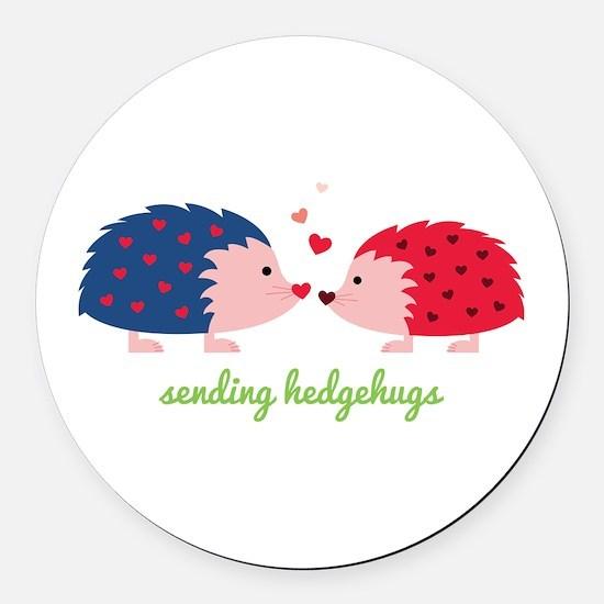 Sending Hedgehugs Round Car Magnet