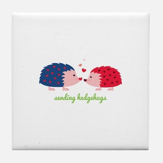 Sending Hedgehugs Tile Coaster