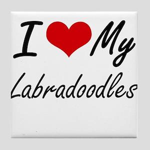 I Love My Labradoodles Tile Coaster
