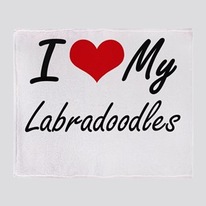 I Love My Labradoodles Throw Blanket