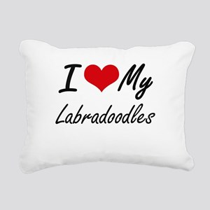 I Love My Labradoodles Rectangular Canvas Pillow