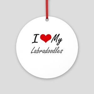 I Love My Labradoodles Round Ornament