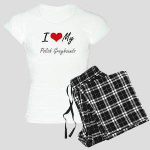 I Love My Polish Greyhounds Women's Light Pajamas