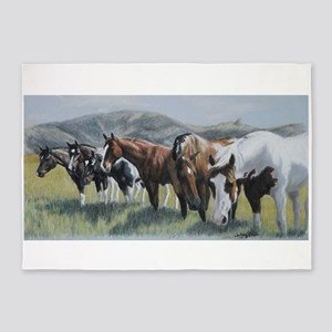 Pretty Horses All In A Row 5'x7'area Rug
