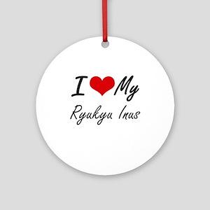 I Love My Ryukyu Inus Round Ornament