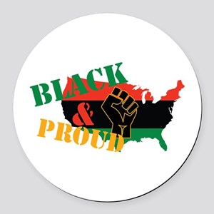 Black & Proud Round Car Magnet