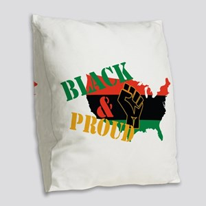 Black & Proud Burlap Throw Pillow