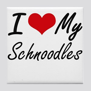I Love My Schnoodles Tile Coaster