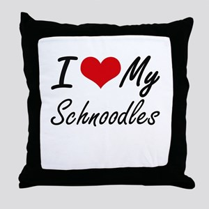 I Love My Schnoodles Throw Pillow