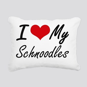 I Love My Schnoodles Rectangular Canvas Pillow