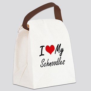 I Love My Schnoodles Canvas Lunch Bag